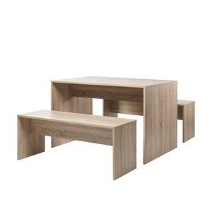 Zestaw stołu do jadalni i dwóch ławek z dekorem drewna dębowego Intertrade Berlin, 118x78cm