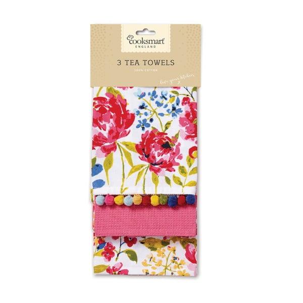 Zestaw 3 ścierek Cooksmart England Floral Romance
