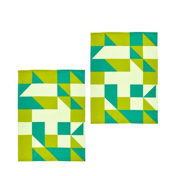 Zestaw 2 ściereczek Zone, 70x50 cm, zielony