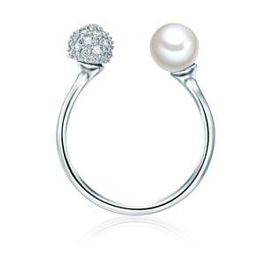 Pierścień w kolorze srebra z białą perłą Perldesse Perle, rozm. 52