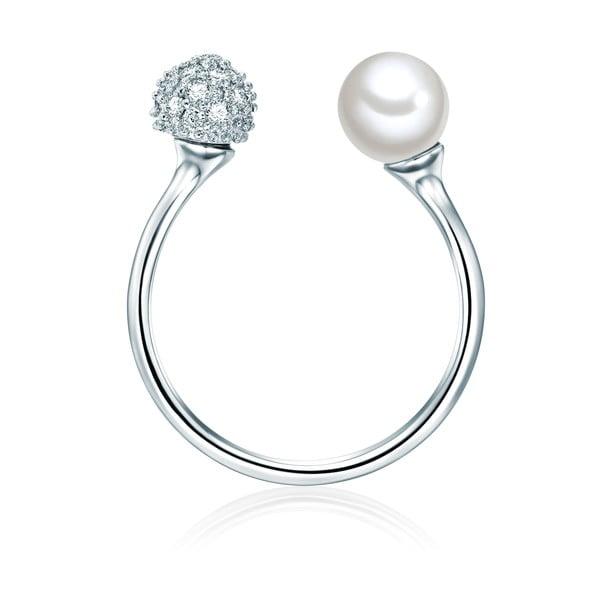 Pierścień w kolorze srebra z białą perłą Perldesse Perle, rozm. 56