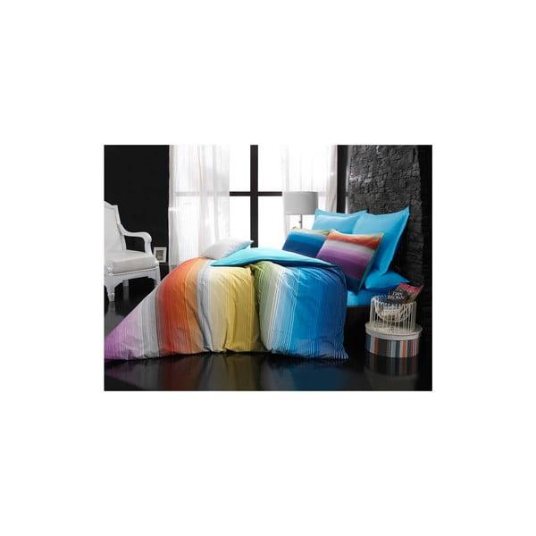 Pościel z prześcieradłem Rainbow Turquoise, 160x220 cm