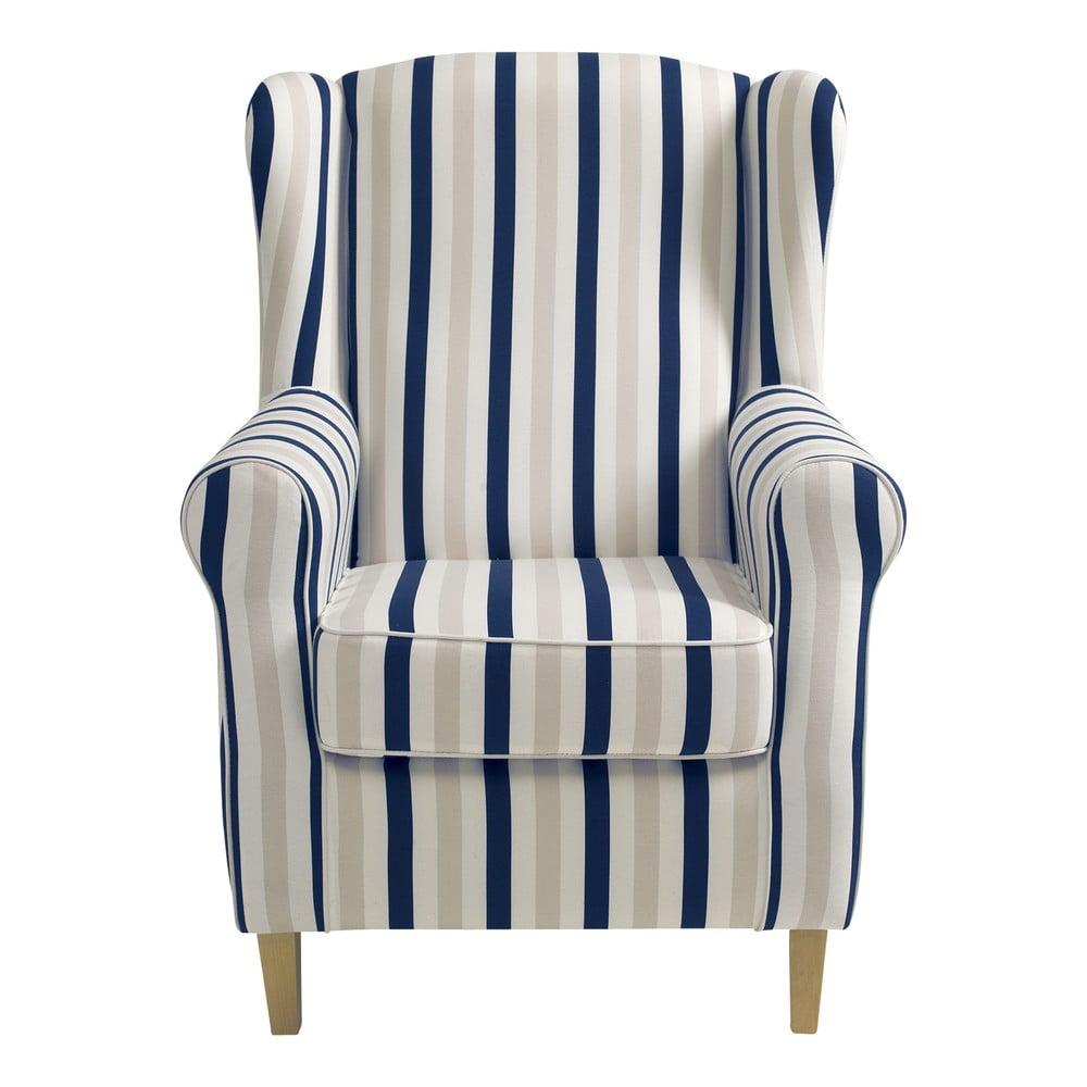 Niebiesko-biały fotel w paski Max Winzer Lorris