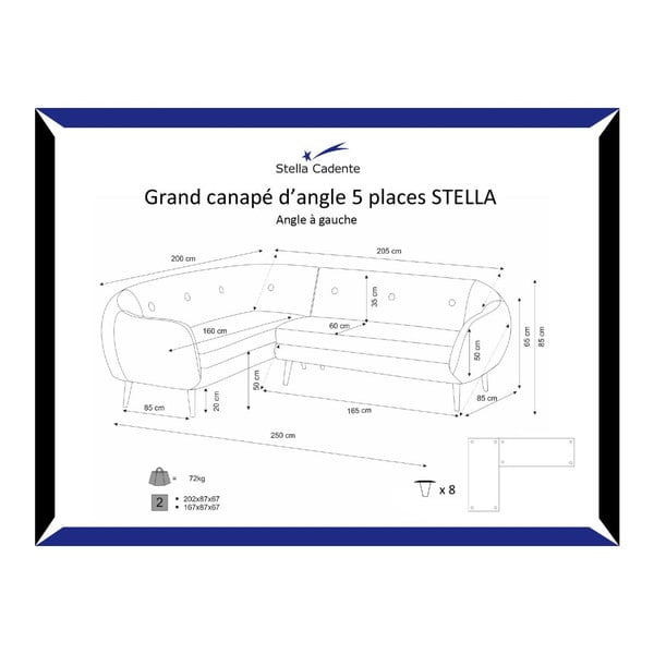Narożnik lewostronny Stella Grand Dark Grey