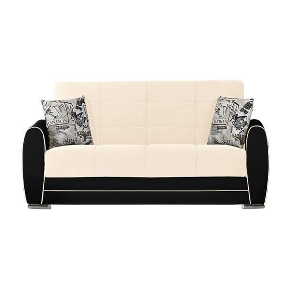 Jasnożółto-czarna dwuosobowa sofa rozkładana ze schowkiem Esidra Rest