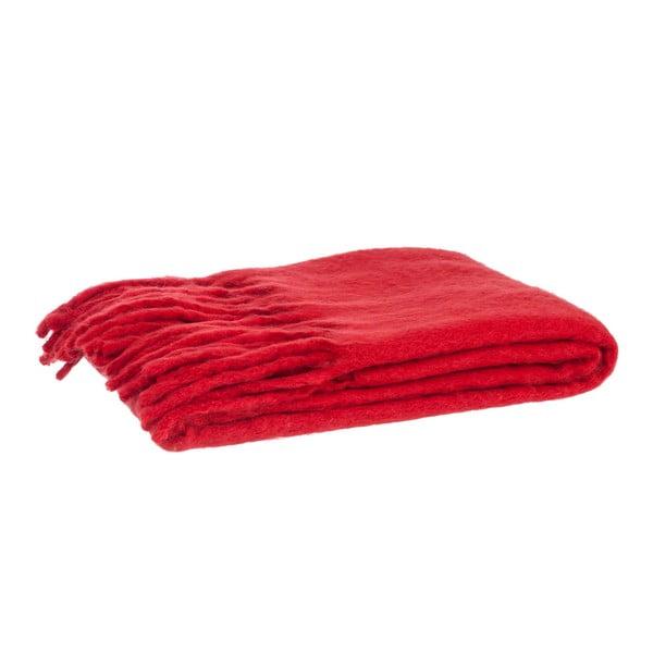 Wełniany koc Fringes Red, 125x150 cm
