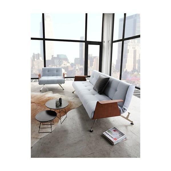 Szary rozkładany fotel z drewnianymi podłokietnikami Innovation Clubber Twist Charcoal