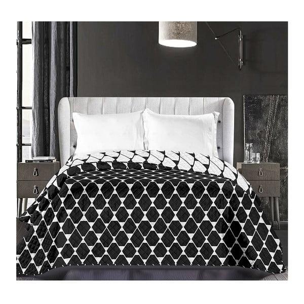 Czarno-biała dwustronna narzuta z mikrowłókna DecoKing Hypnosis Art Deco, 170x210 cm