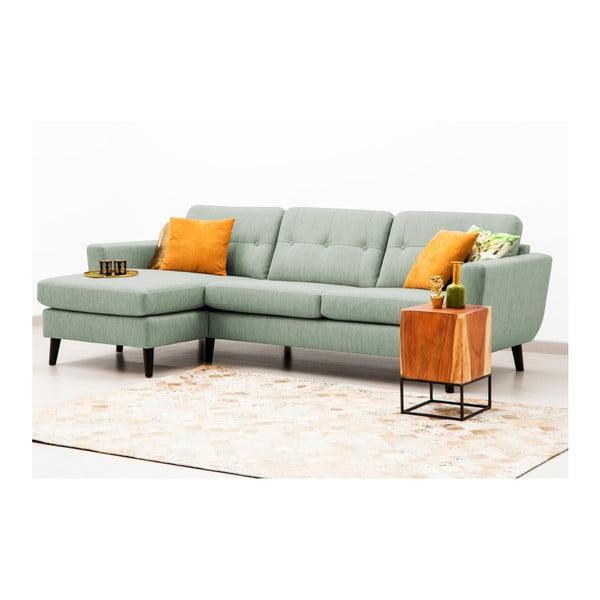 Jasnozielona sofa z szezlongiem po lewej stronie Vivonita Harlem