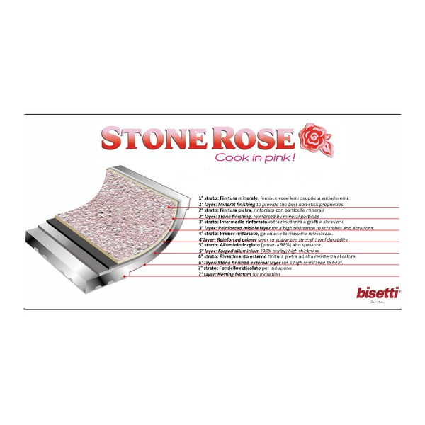 Patelnia do grillowania Bisetti Stonerose Rose Simone, 28x28 cm