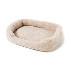Beżowe legowisko dla psa z wełny merynosowej  Royal Dream, długość 60cm