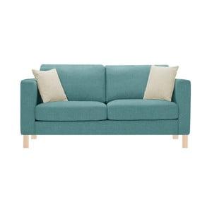 Niebieska sofa trzyosobowa z 2 kremowymi poduszkami Stella Cadente Canoa