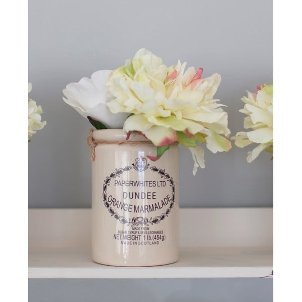 Ceramiczny wazon ze sztucznymi kwiatami Peony, 20 cm