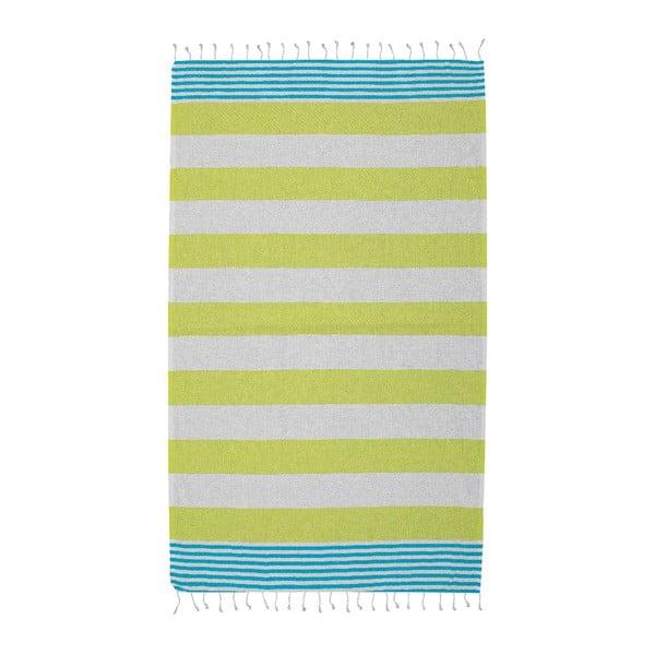 Ręcznik hammam Ellis Yellow/Turquoise, 100x180 cm