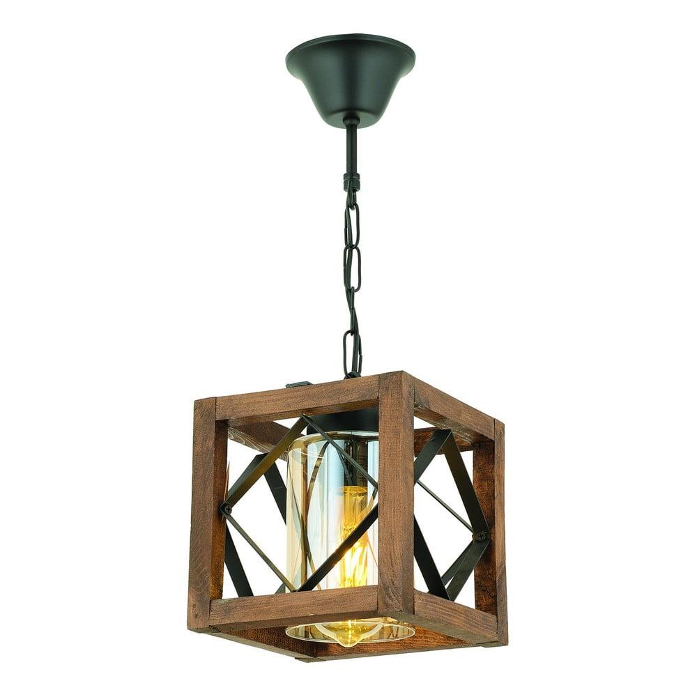 Lampa wisząca z drewna grabu Zikzak Camlı