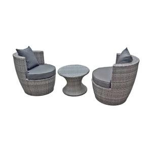 Zestaw 2 szarych foteli i stolika ADDU Linz
