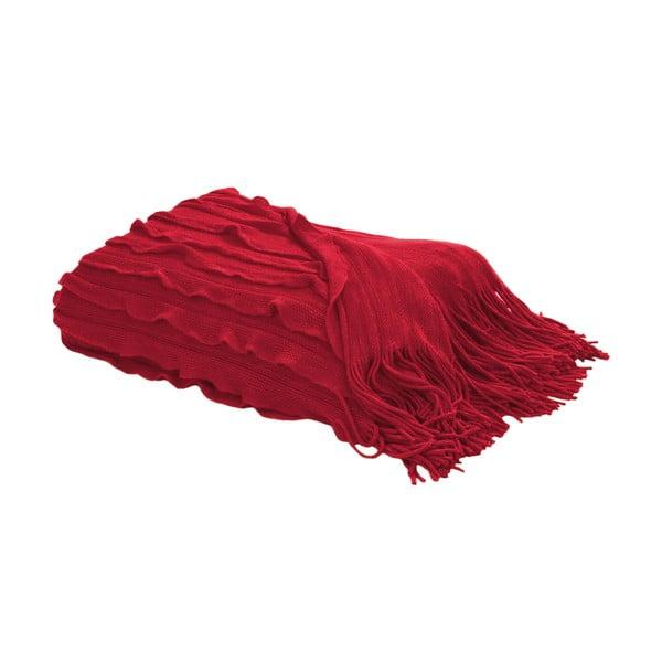 Koc z frędzlami 127x152 cm, czerwony