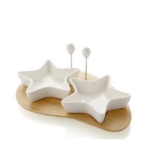 Miski do serwowania przekąsek na drewnianej podkładce i 2 wykałaczkami Brandani Stelle