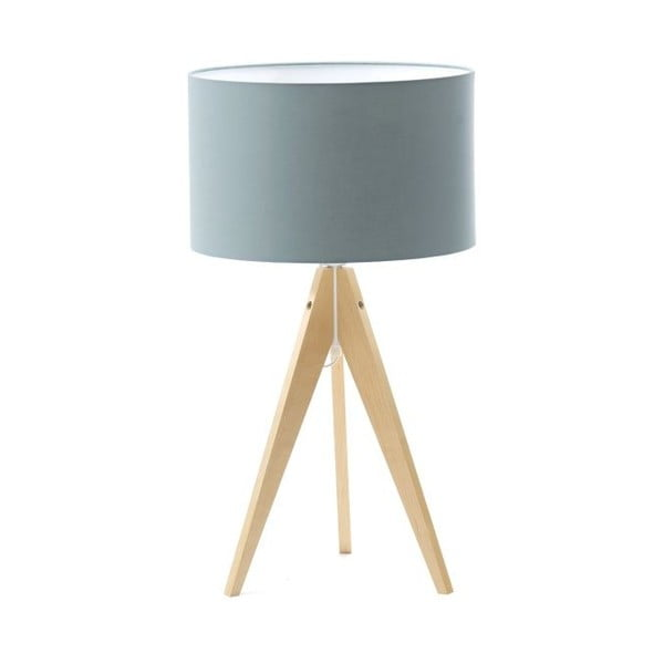 Jasnoniebieska lampa stołowa Artist, brzoza, Ø 33 cm