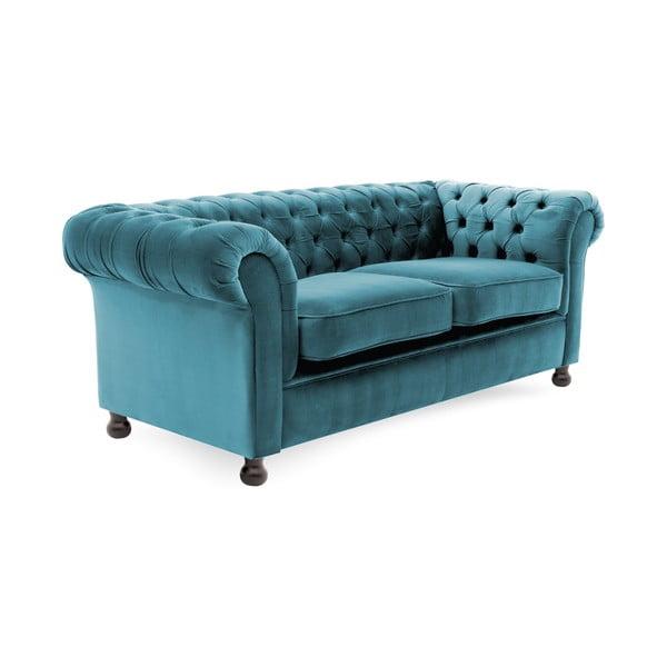 Niebieska sofa trzyosobowa Vivonita Chesterfield