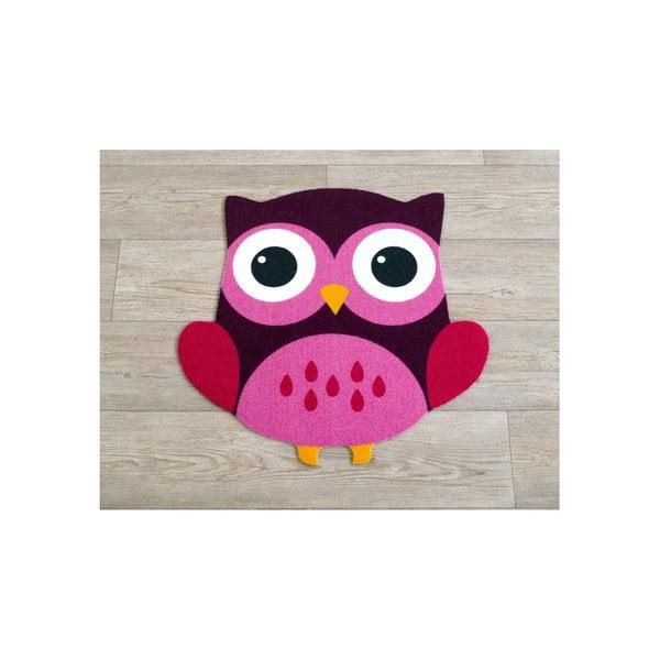 Brązowo-różowy dywan dziecięcy Sowa, 100x100cm