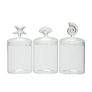 Komplet 3 szklanych pojemników Sea