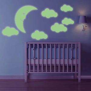 Świecąca w ciemności naklejka Księżyc i chmury, 60x30 cm