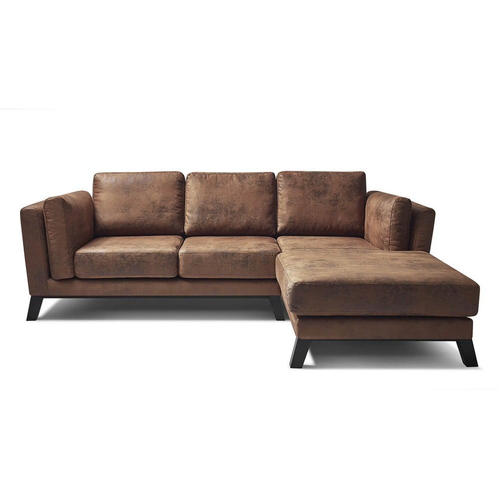 Brązowa sofa Bobochic Paris Seattle Vintage, prawostronna