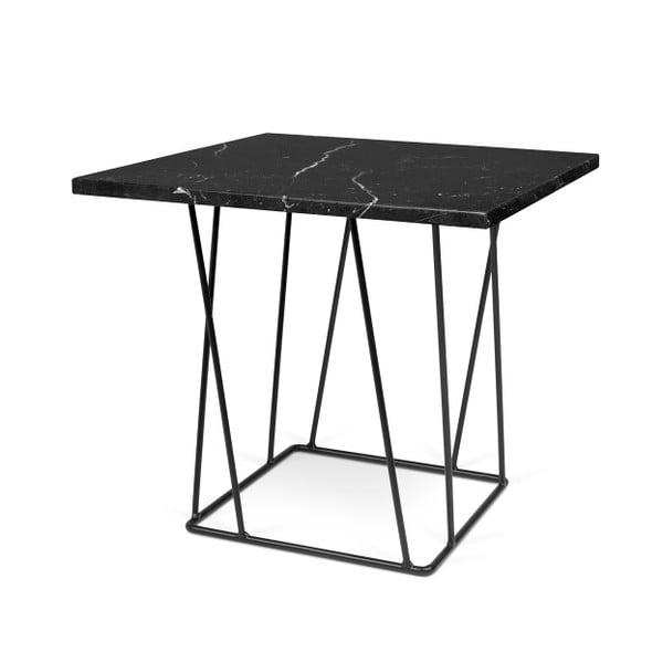 Czarny stolik marmurowy z czarnymi nogami TemaHome Helix, 50 cm