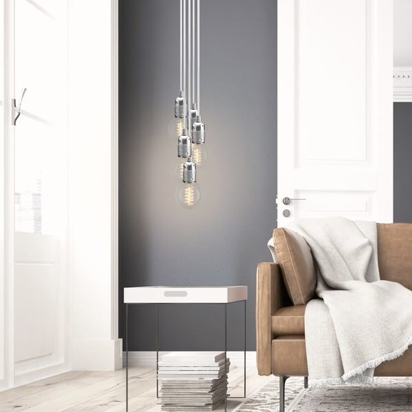 Lampa wisząca s 5 białymi kablami i oprawą żarówki w srebrnym kolorze Bulb Attack Uno Group