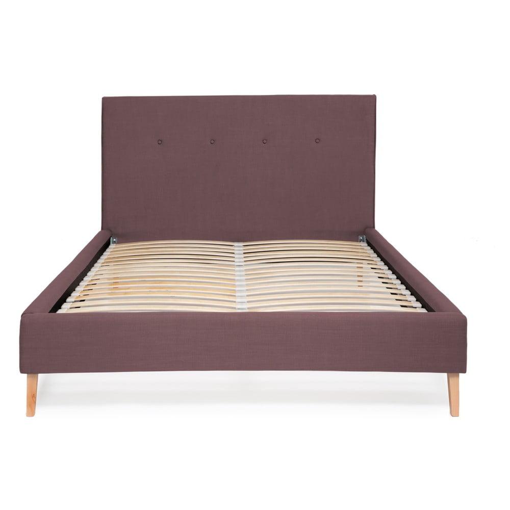 Fioletowe łóżko Vivonita Kent Linen, 200x140cm