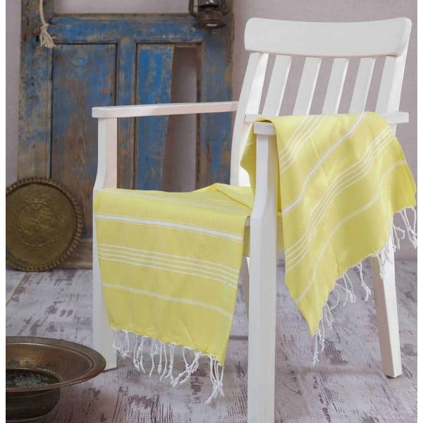 Żółty ręcznik Hammam Sultan, 100x180 cm