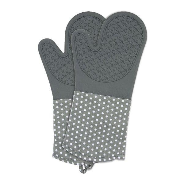 Zestaw 2 szarych rękawic kuchennych z silikonu Wenko Oven