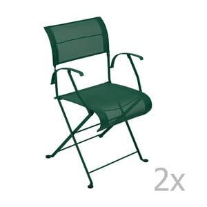 Zestaw 2 zielonych krzeseł składanych z podłokietnikami Fermob Dune