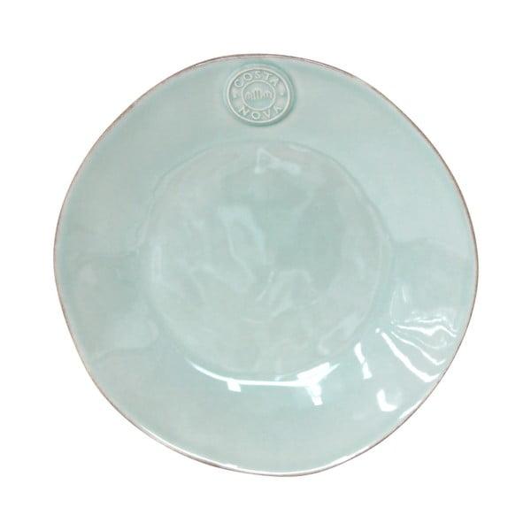 Turkusowy ceramiczny talerz deserowy Ego Dekor Nova,Ø21 cm