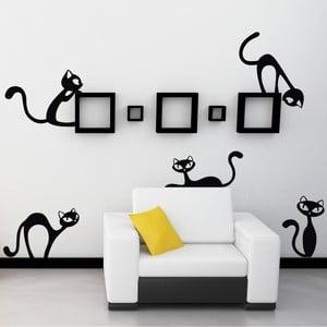 Naklejka ścienna Ciekawskie koty, mała, czarna