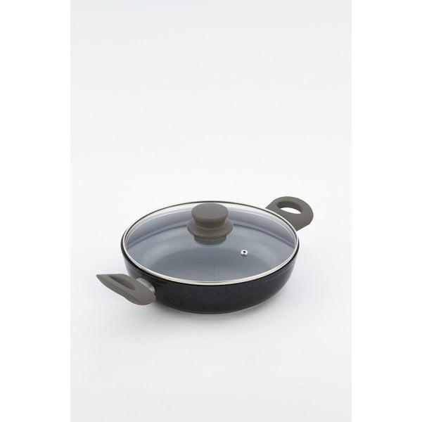 Patelnia z pokrywką i szarymi uchwytami Bisetti Black Diamond, wys. 6,3 cm