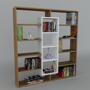 Biblioteczka Ample Walnut/White, 22x125x135,7 cm