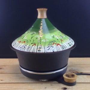 Żeliwny garnek elektryczny + tadżin, zielony