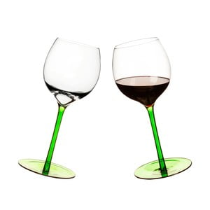 Zielone bujające się kieliszki do wina, 2 szt