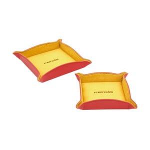 Zestaw 2 czerwonych podkładek na biżuterię Friedrich Lederwaren Ascot