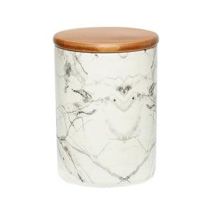 Biały pojemnik porcelanowy Hübsch Marble, wys.16cm