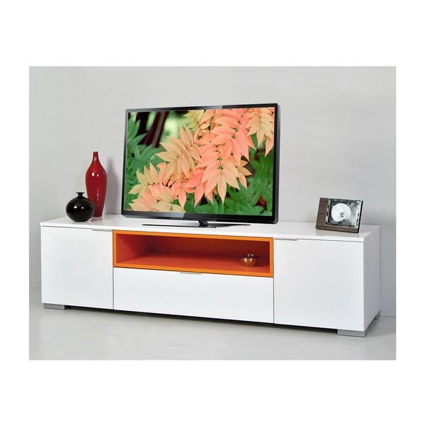 Stolik telewizyjny Grand, biały/pomarańczowy