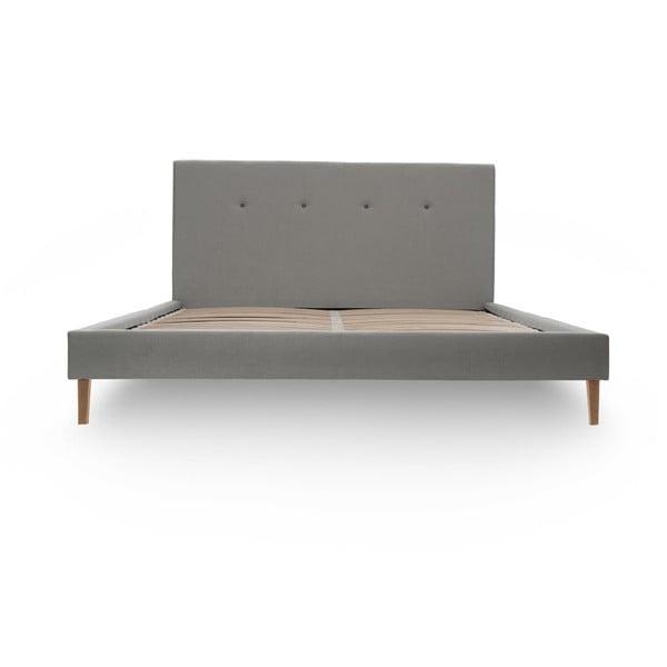 Szare łóżko z ciemnoszarymi guzikami i naturalnymi nóżkami Vivonita Kent, 140x200 cm