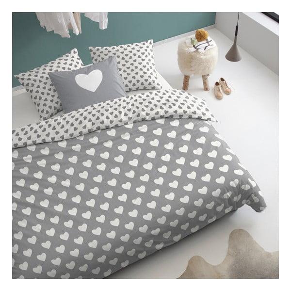 Pościel  Hearts Grey, 200x200 cm, szara