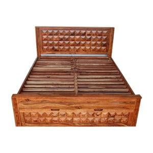 Łóżko dwuosobowe z palisandru ze schowkiem Massive Home Roxy, 180x200 cm