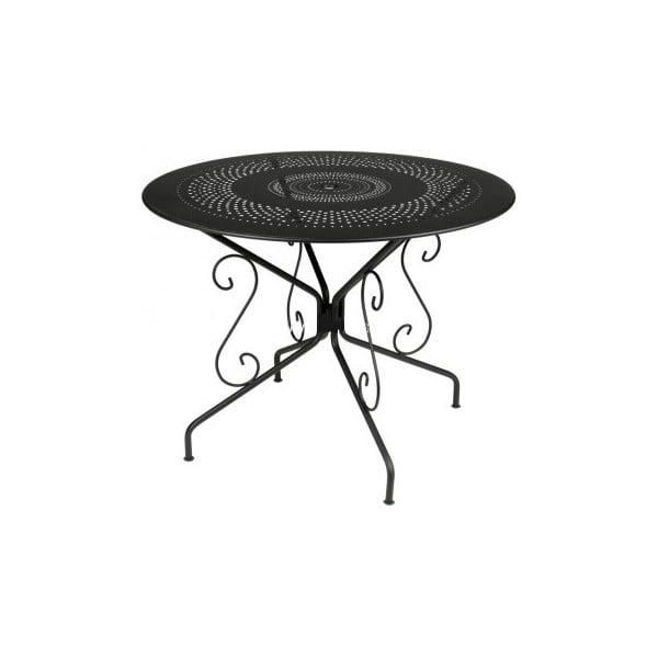 Czarny stół metalowy Fermob Montmartre, Ø 96 cm
