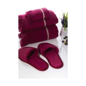 Zestaw 3 ręczników i kapci Pearly V3