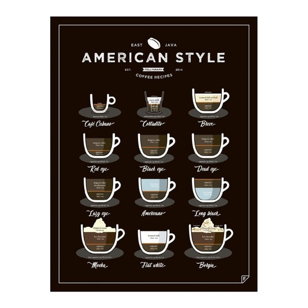 Plakat Follygraph American Style Coffee, 40x50cm