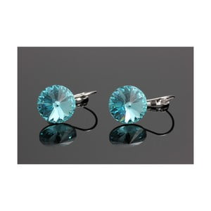 Kolczyki Swarovski Elements Simple Rivoli Aqua